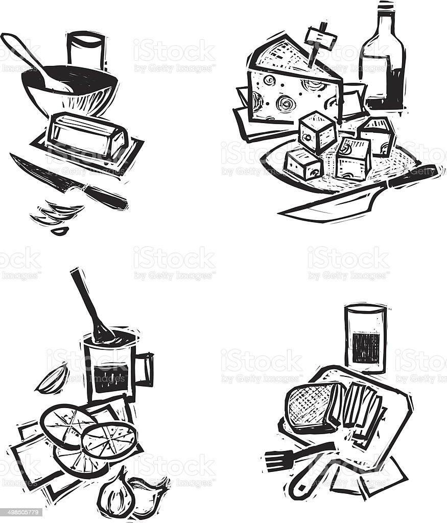 Rustic Cooking set. vector art illustration