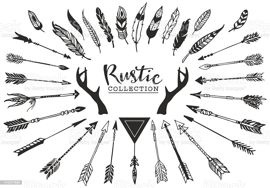 Rustic decorative antlers, arrows and feathers. vector art illustration