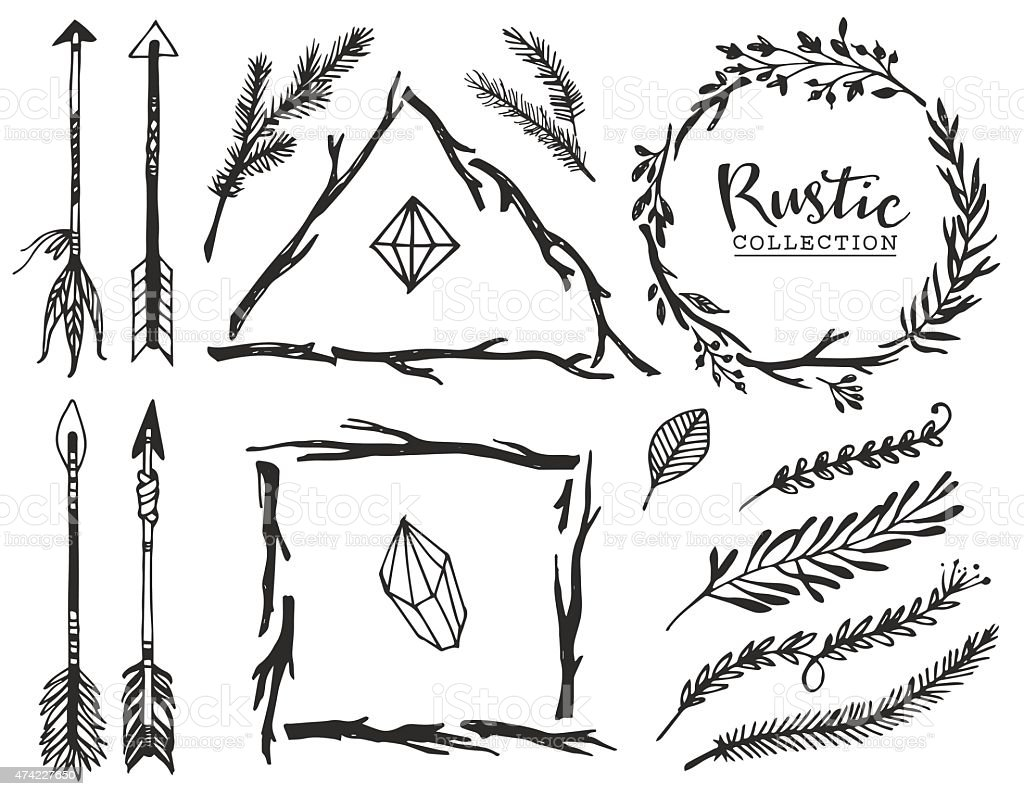 Rustic decorative elements with arrow and lettering. vector art illustration