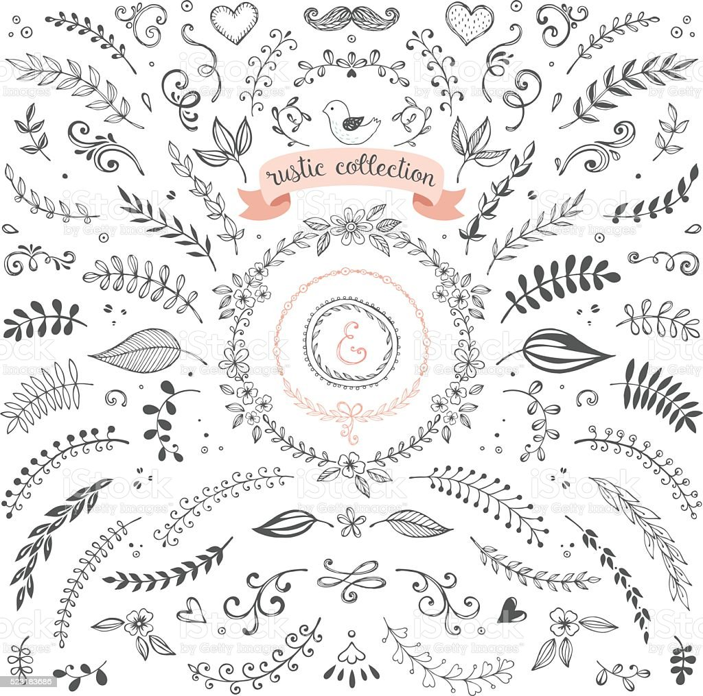 Rustic Design Collection vector art illustration