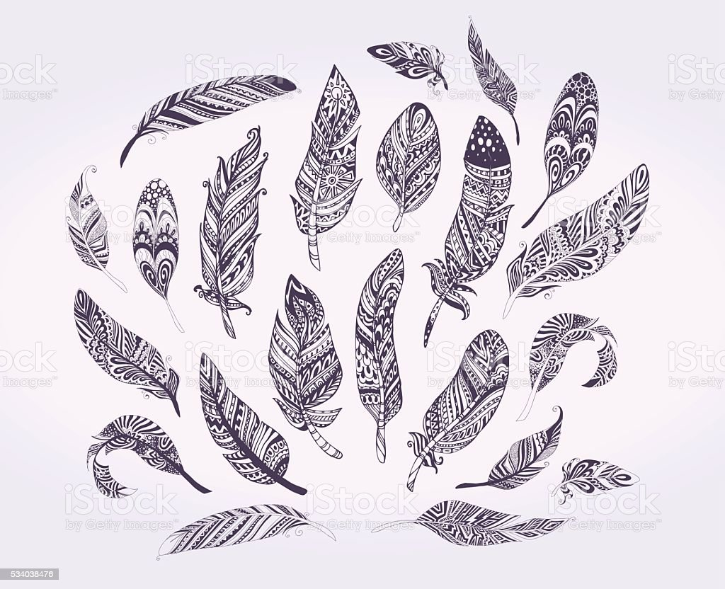 Rustic Ethnic decorative feathers. vector art illustration