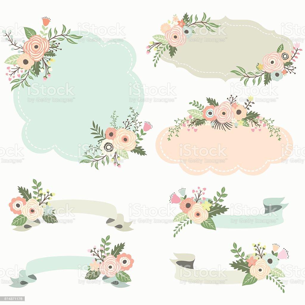 Rustic Floral Frame Elements- Illustration vector art illustration