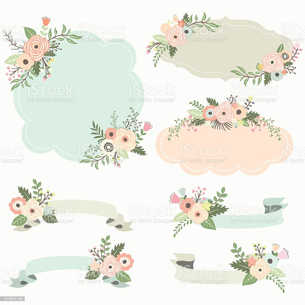 Rustic Floral Frame Elements- Illustration vector art illustration