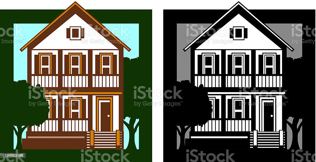 Rustic house vector art illustration
