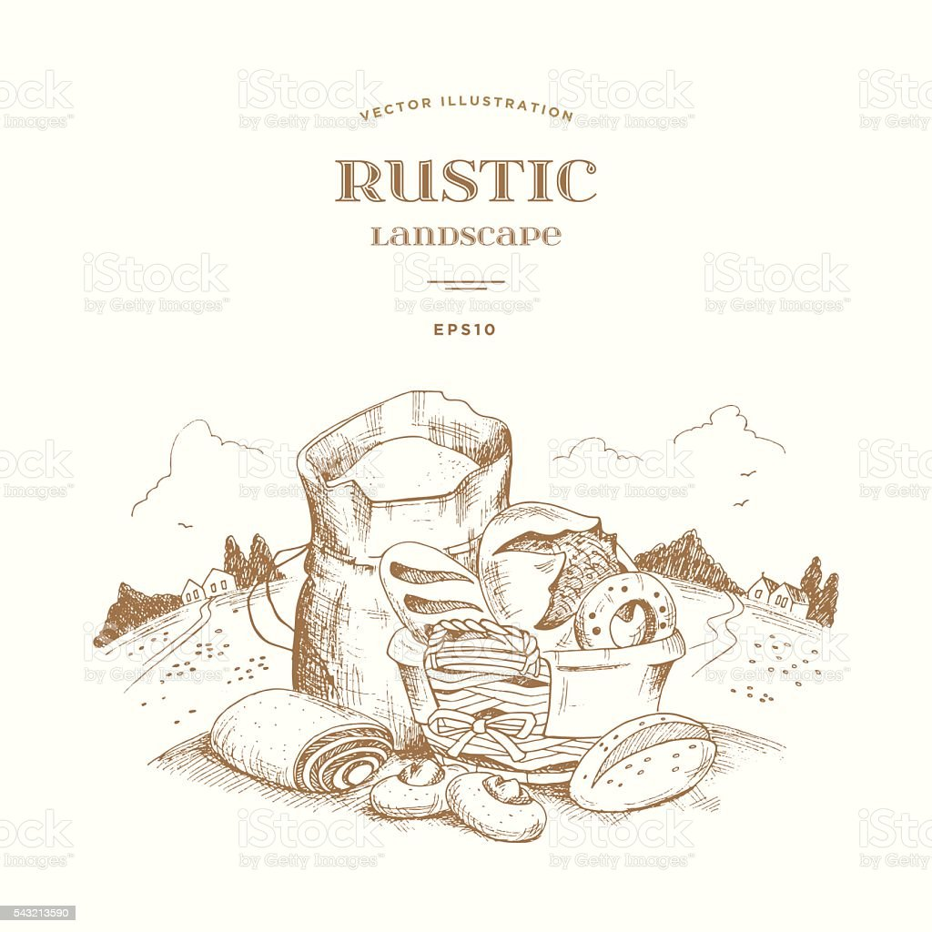 Rustic landscape with a bag of flour and wicker basket. vector art illustration