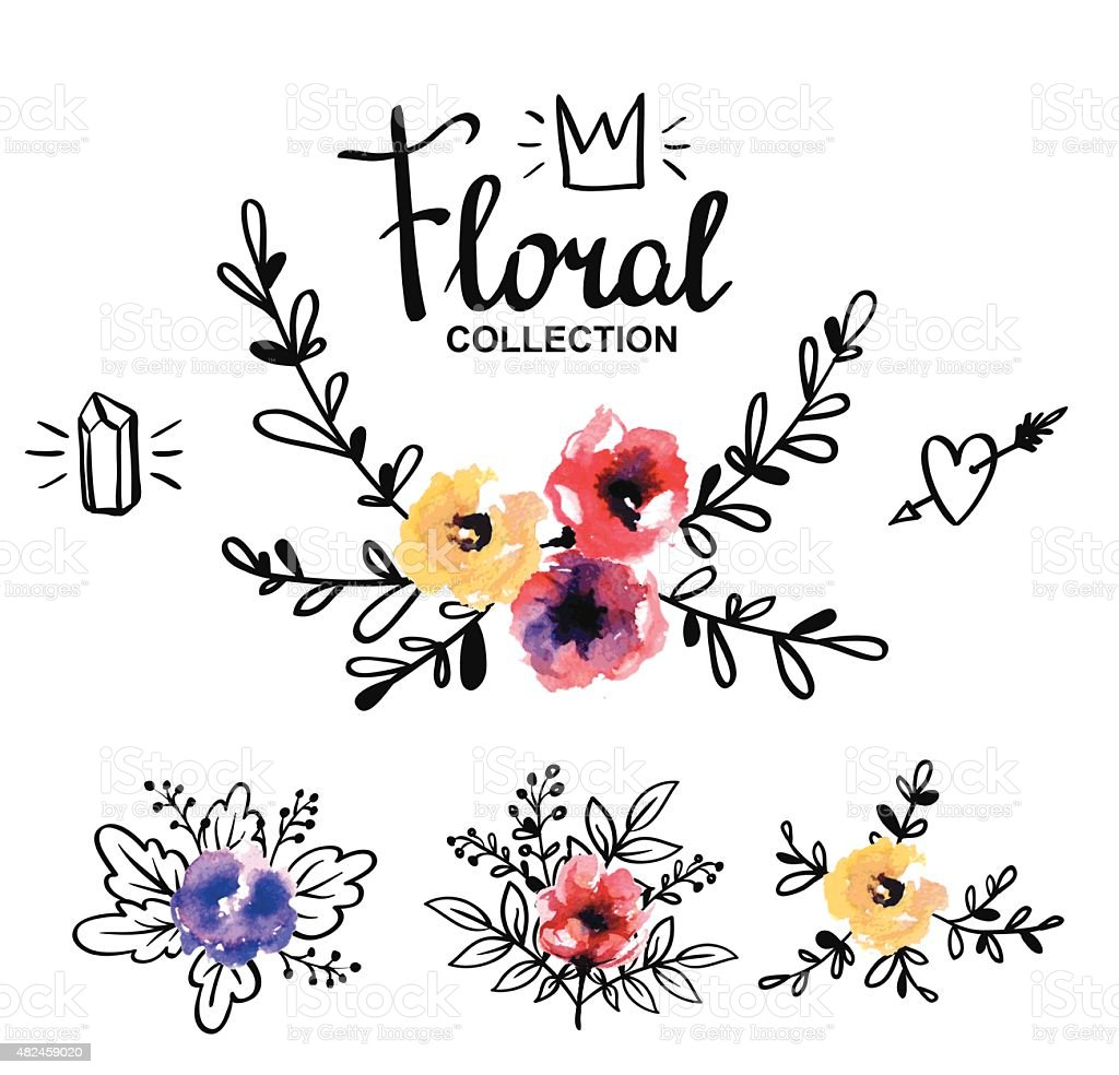 Rustic  logo template with watercolor flowers and branches. vector art illustration
