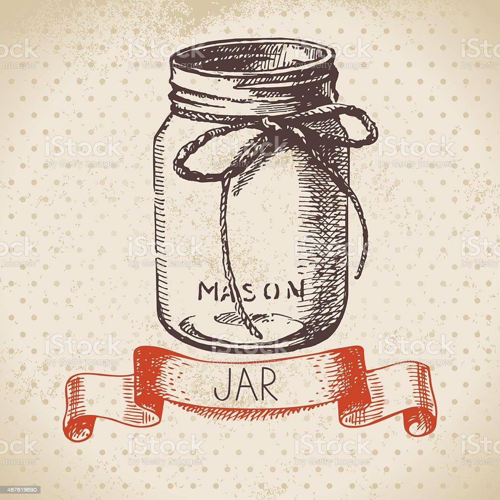 Rustic, mason and canning jar. Vintage hand drawn sketch design. vector art illustration