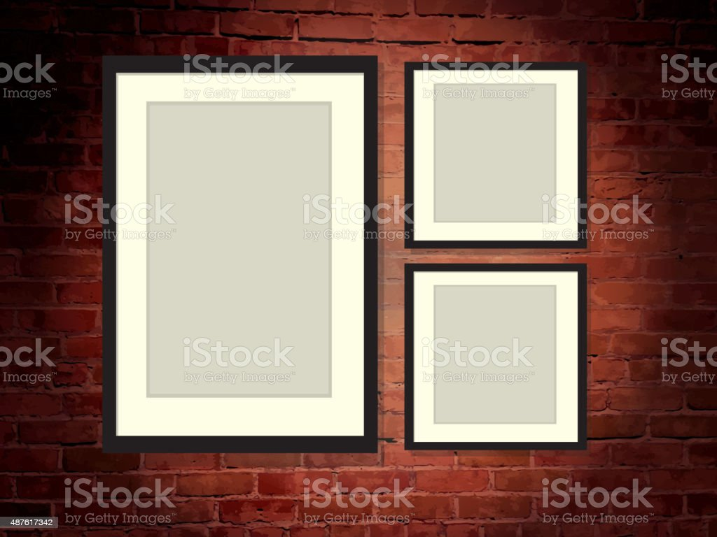 Rustic old fashioned brick wall background with three blank frames vector art illustration