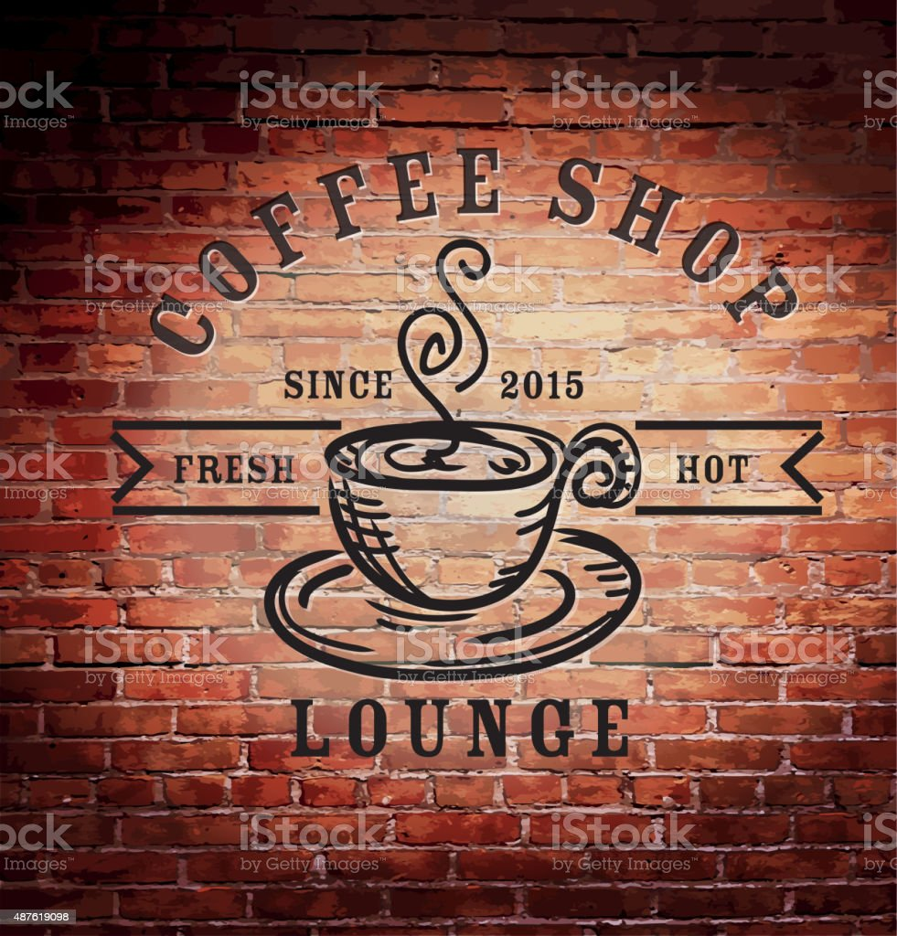 Rustic old fashioned brick wall with coffee shop sign vector art illustration