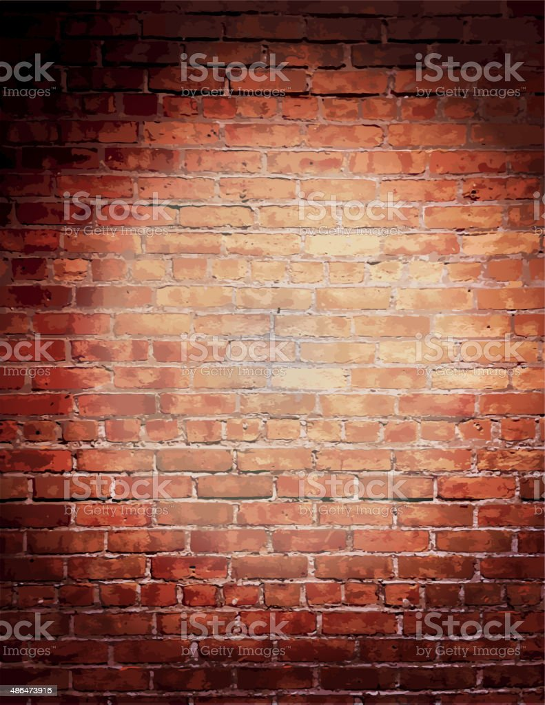 Rustic old fashioned brick wall with elegant string lights background vector art illustration