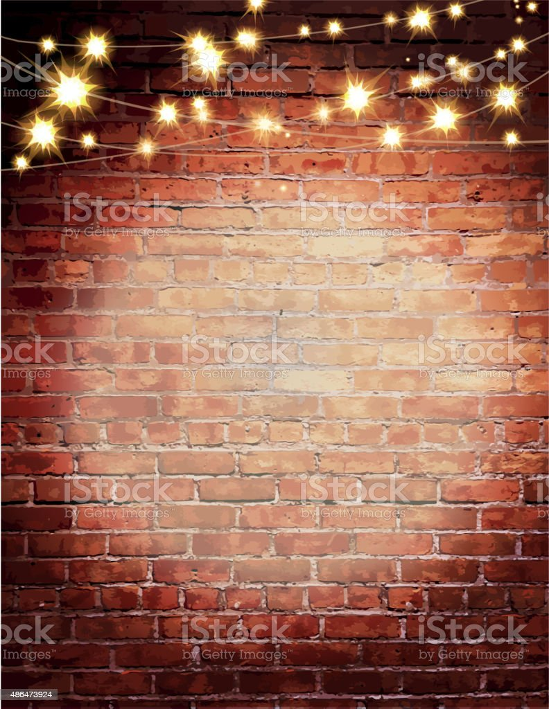 Rustic Old Fashioned Brick Wall With Elegant String Lights Background stock vector art 486473924 ...