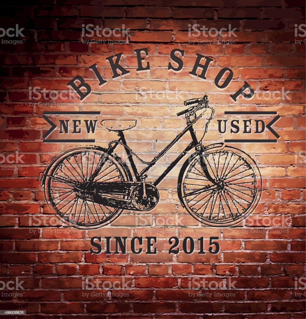 Rustic old fashioned brick wall with vintage bike shop sign vector art illustration
