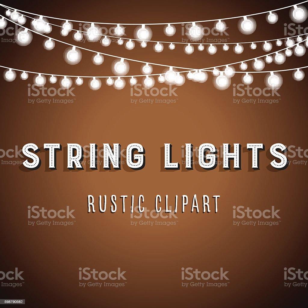 Rustic String Lights Background vector art illustration