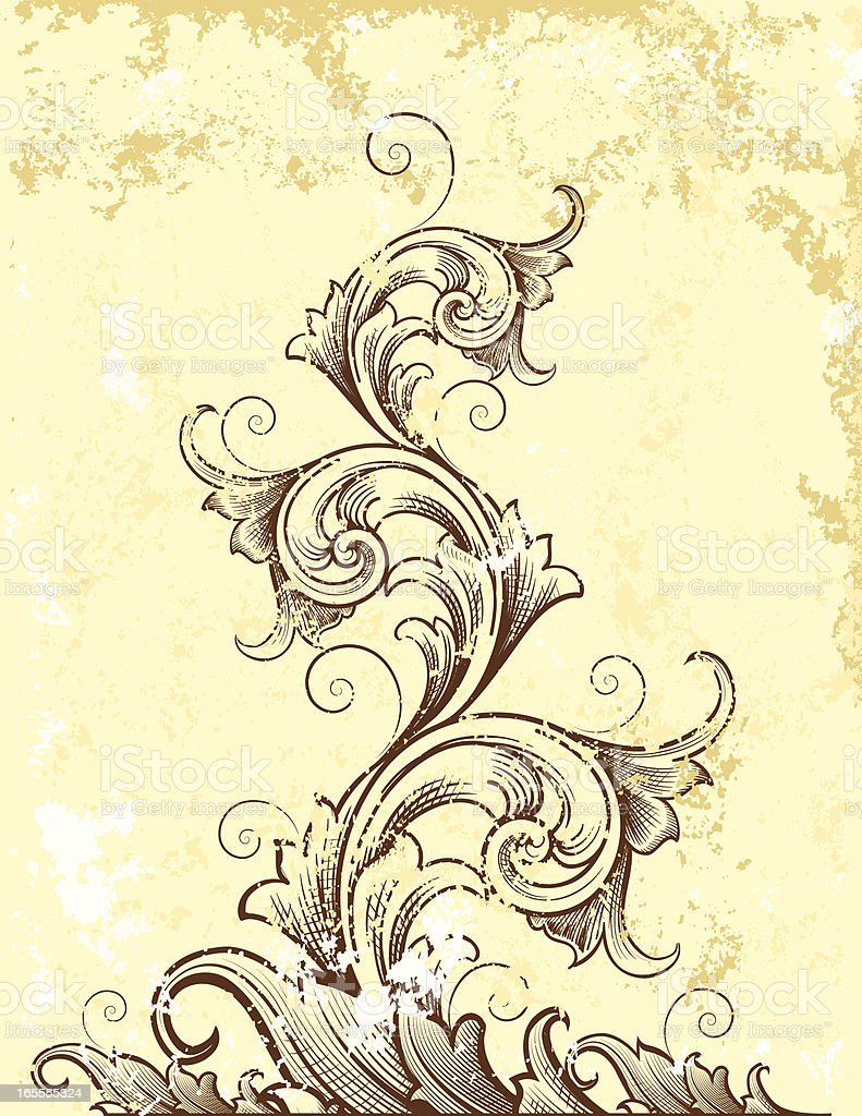 Rustic Tapered Scroll royalty-free stock vector art