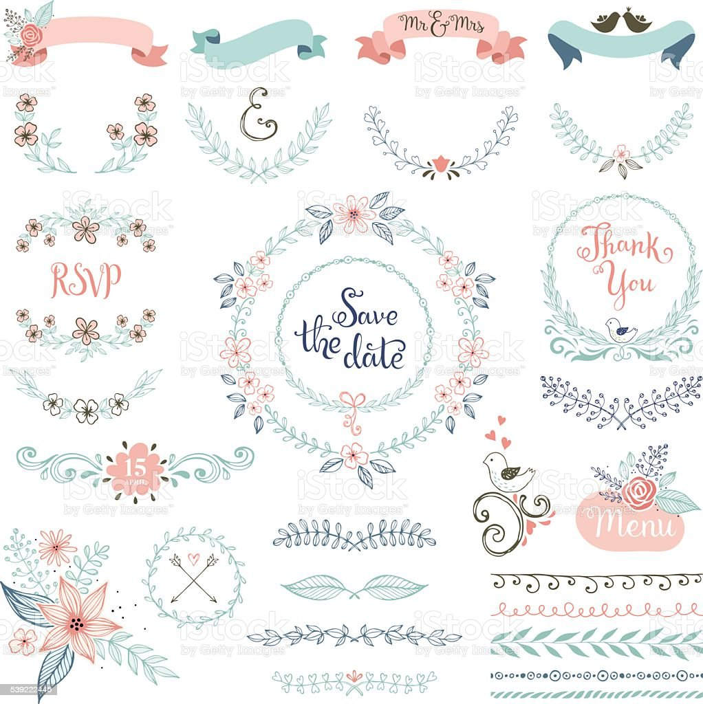 Rustic Wedding Design Set vector art illustration