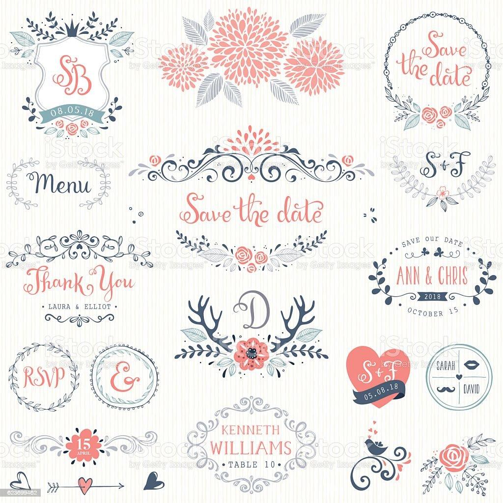 Rustic Wedding Design Set vector art illustration
