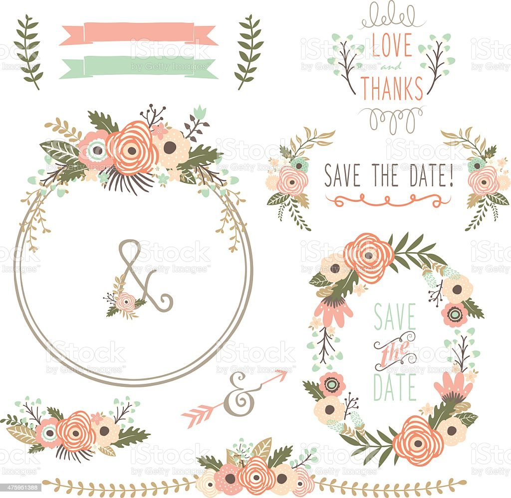 Rustic Wedding Flower Wreath Illustration Stock Vector Art