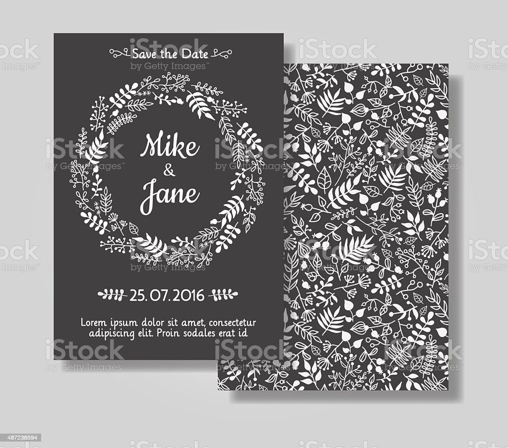 Rustic wedding invitation card set. vector art illustration