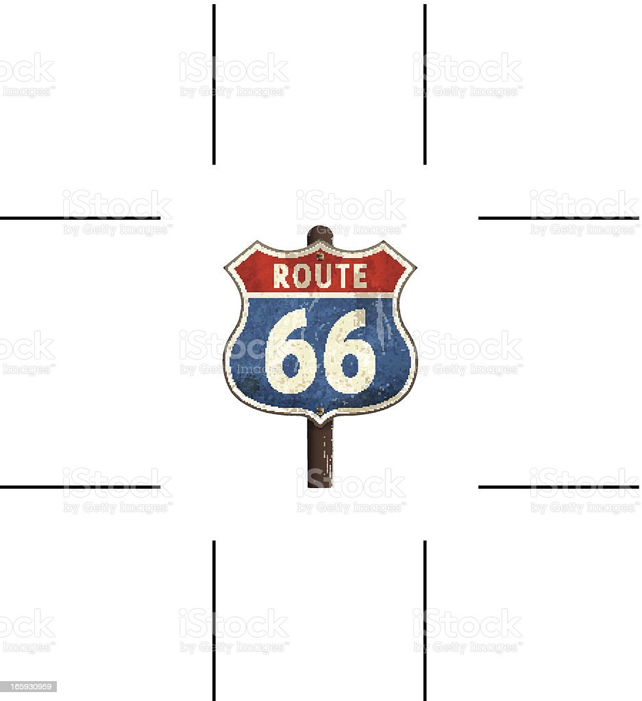 rusty American route 66 road sign vector art illustration