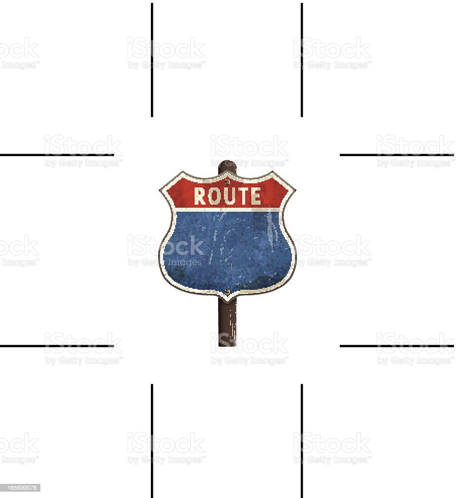 rusty American route road sign vector art illustration