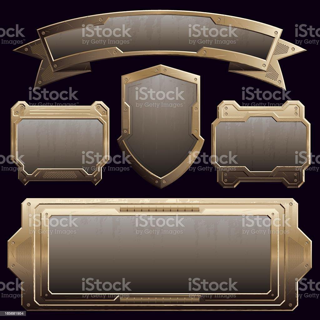 rusty bronze plates royalty-free stock vector art