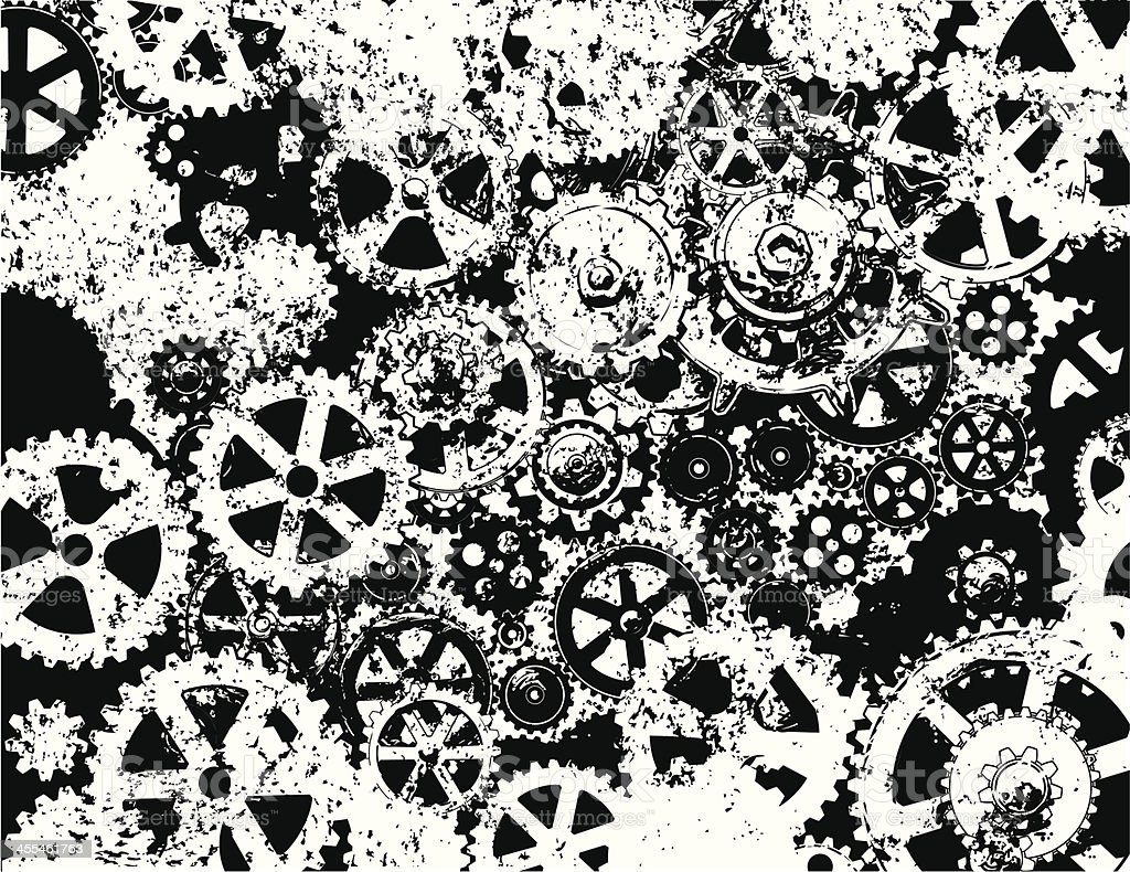 Rusty old gears. royalty-free stock vector art