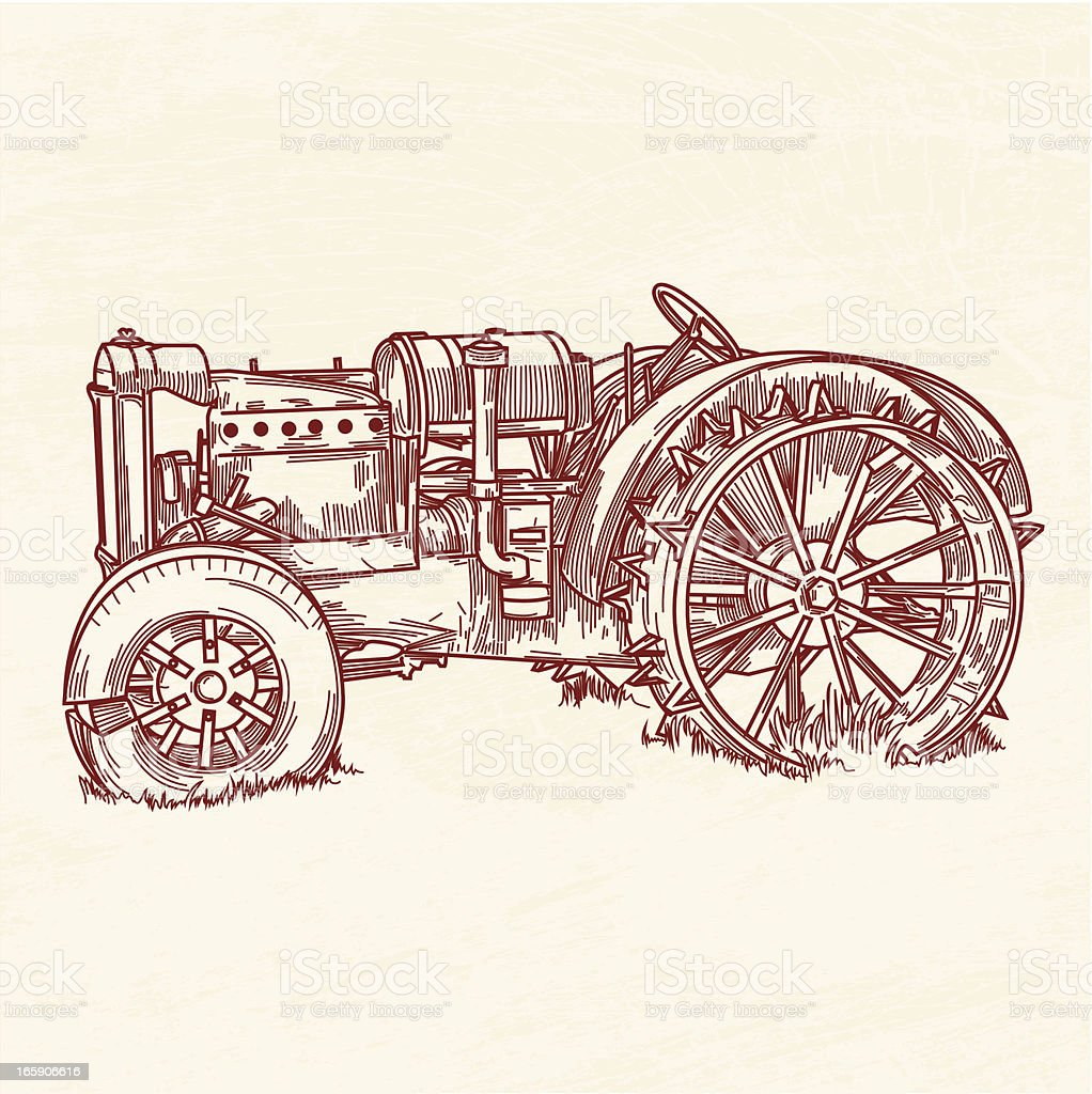 Rusty Old Tractor royalty-free stock vector art