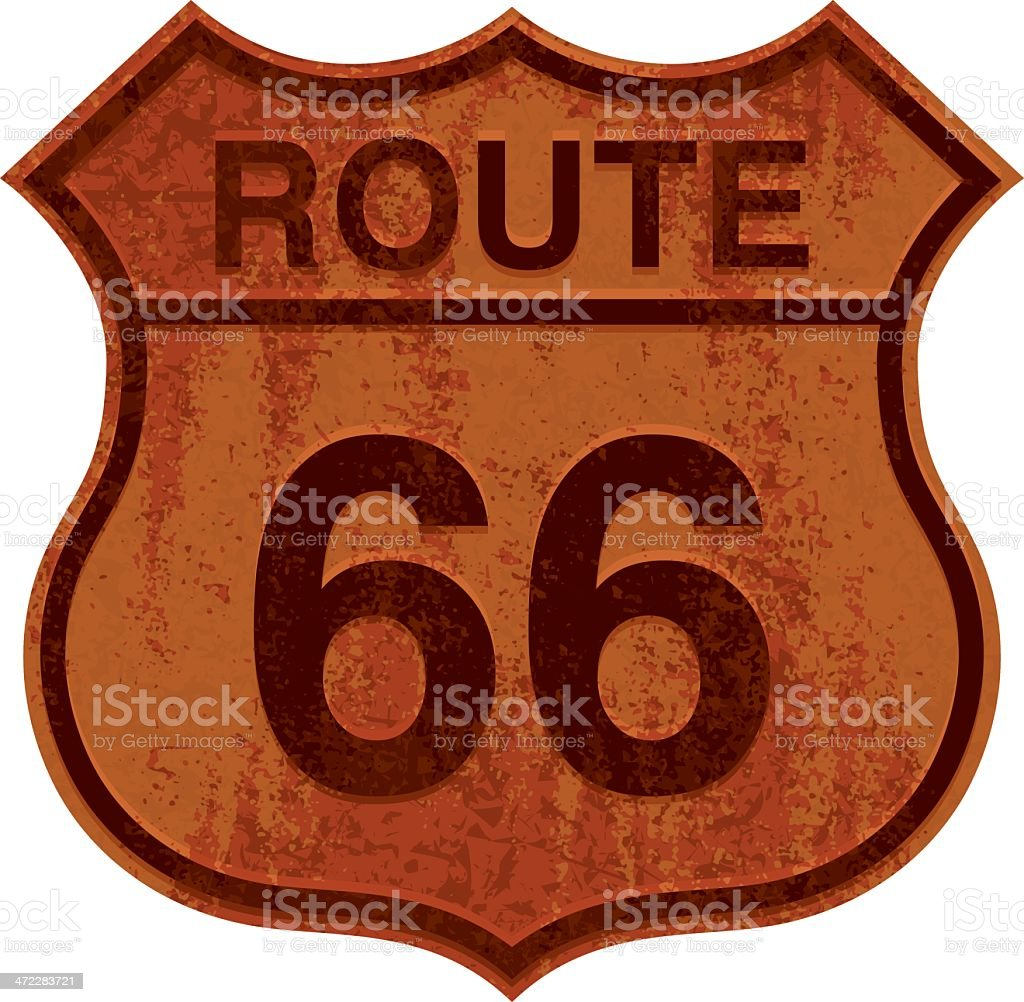 rusty route 66 sign vector art illustration