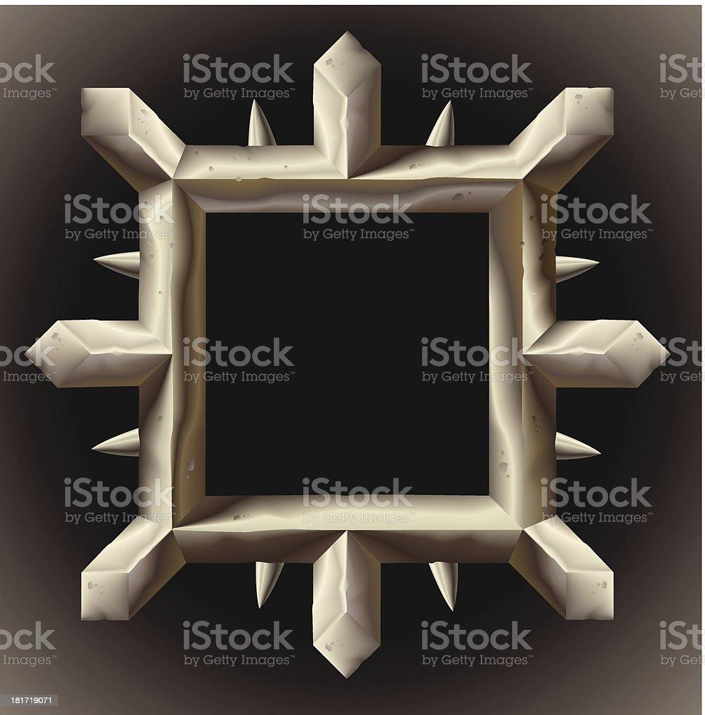 Rusty spiky metal frame border royalty-free stock vector art
