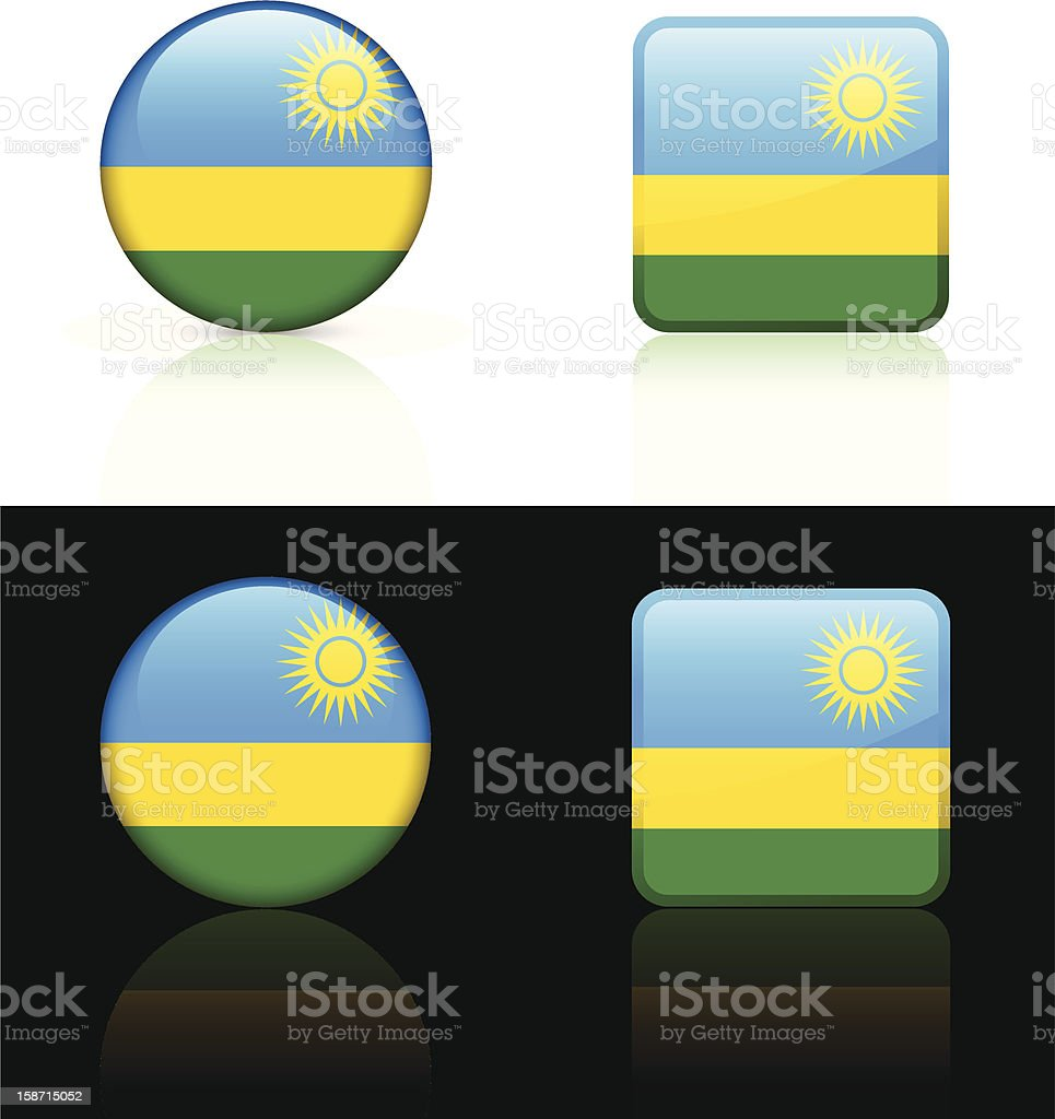 Rwanda Flag Button Set royalty-free stock vector art