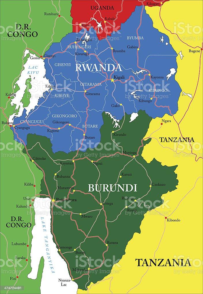 Rwanda map vector art illustration