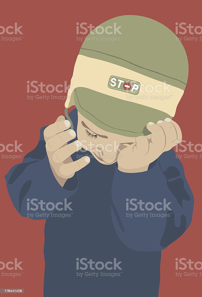 ?rying Kid with green cap on a red background royalty-free stock vector art