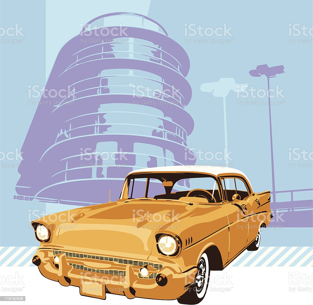 1957's Chevrolet with light blue background vector art illustration