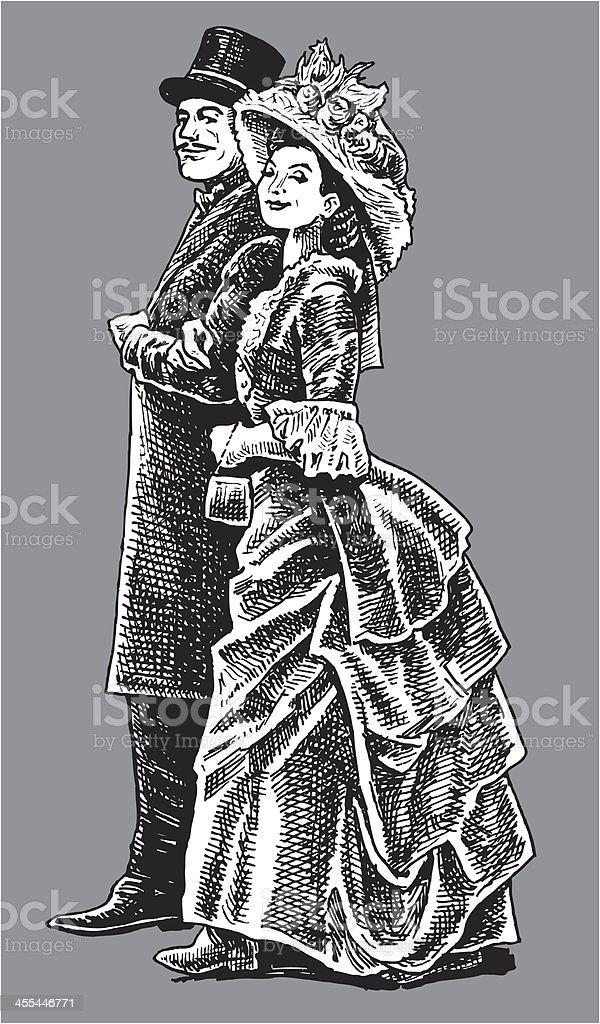 1890's High Society Couple - Upper Class royalty-free stock vector art