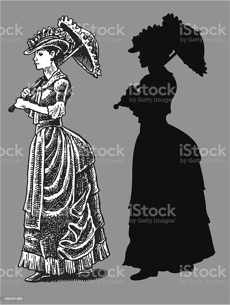 1890's High Society Woman with Parasol - Time royalty-free stock vector art