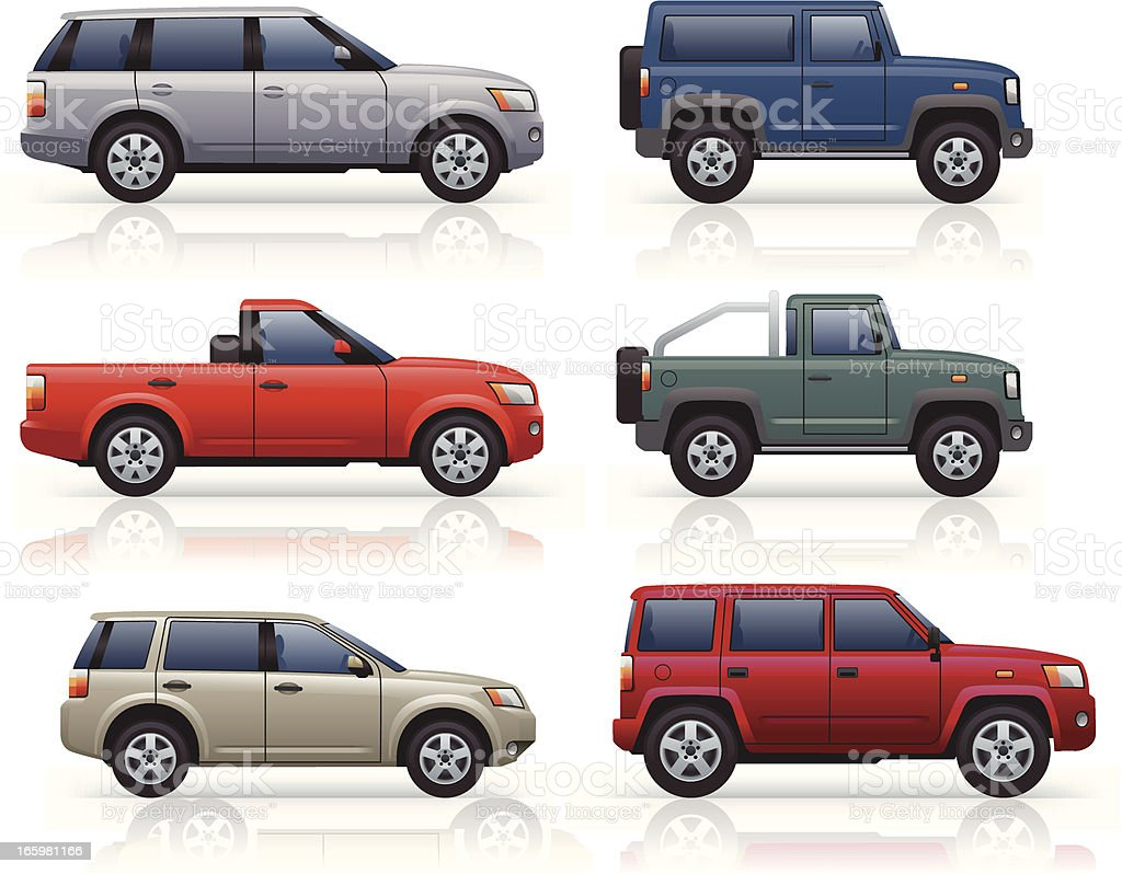 SUV's & Pick-ups vector art illustration
