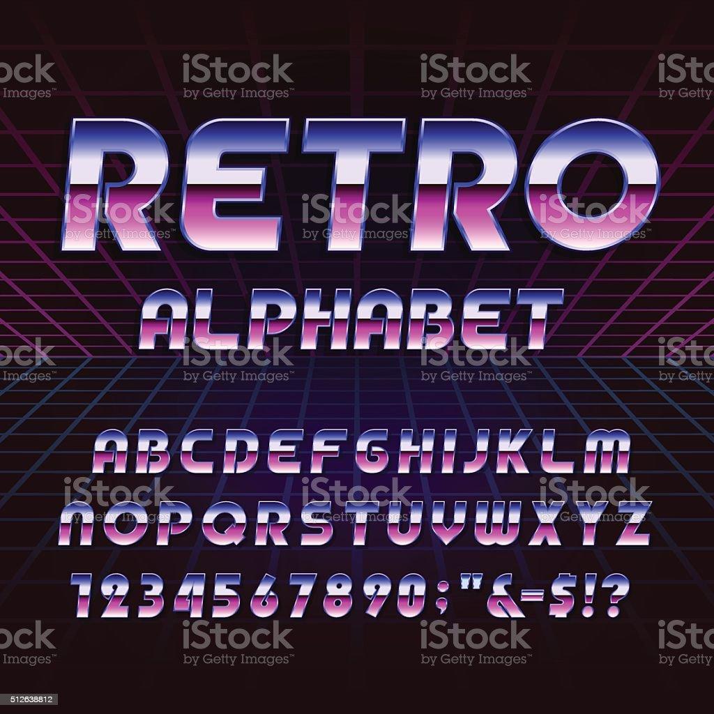 80's retro alphabet vector font vector art illustration