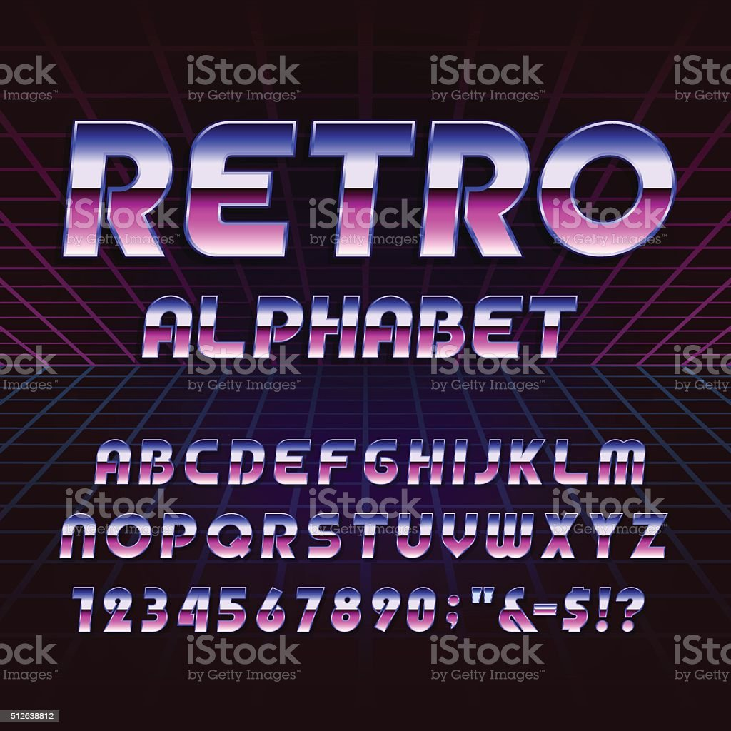 80's retro alphabet vector font vector art illustration