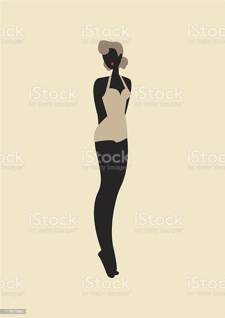 40's Retro Swimsuit Pin-up royalty-free stock vector art