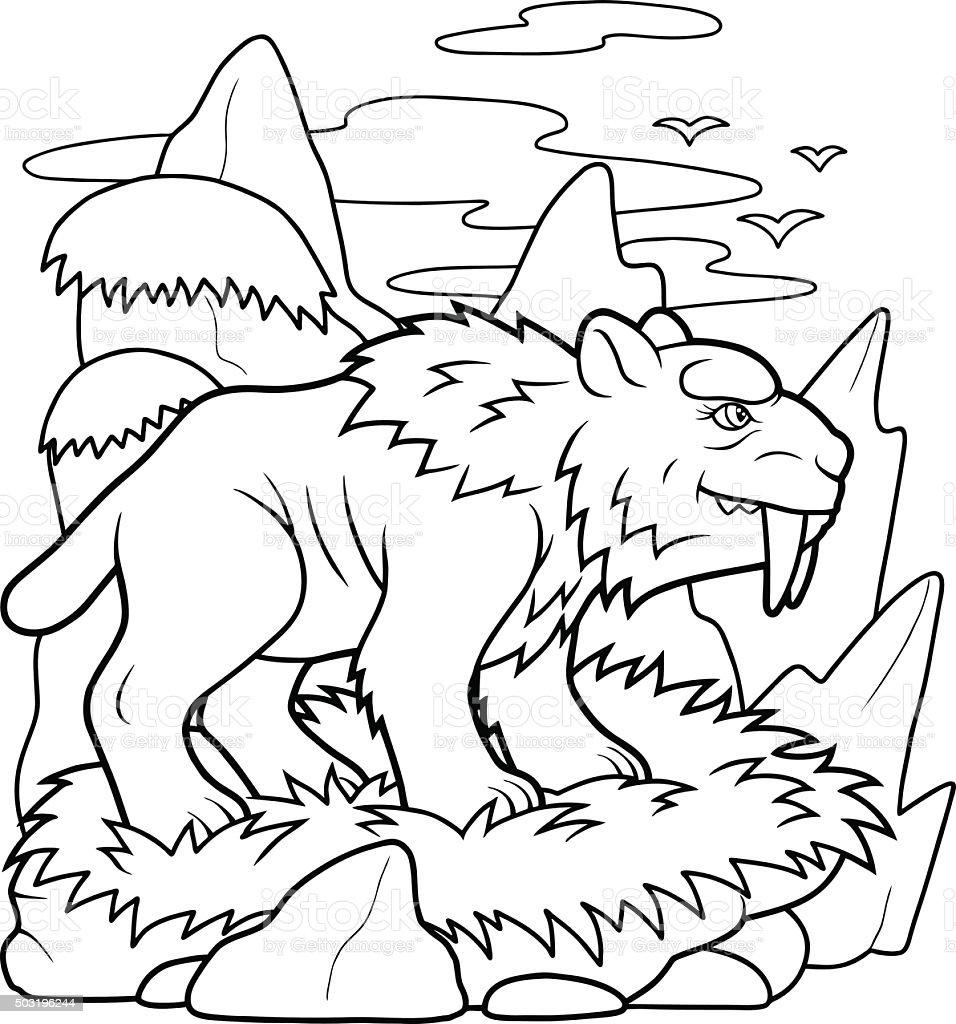 saber toothed tiger vector art illustration
