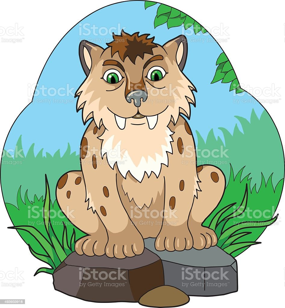 saber-toothed tiger cub vector art illustration