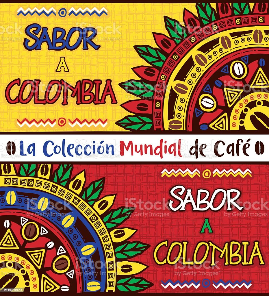 Sabor a Colombia, Taste of Colombia. Hand drawn illustrations set vector art illustration