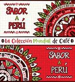Sabor a Perú, Taste of Peru. Hand drawn illustrations set