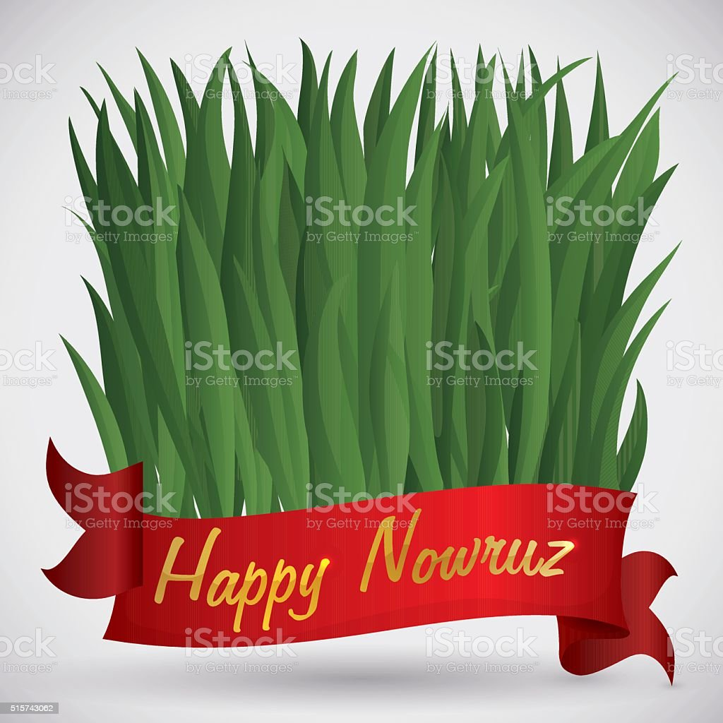 Sabzeh for Nowruz with a Red Ribbon and Golden Greeting vector art illustration