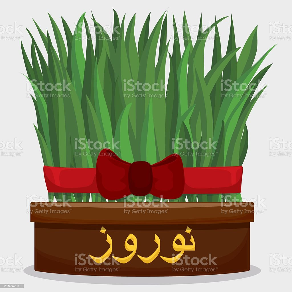 Sabzeh tied with a Red Ribbon and Bow for Nowruz vector art illustration