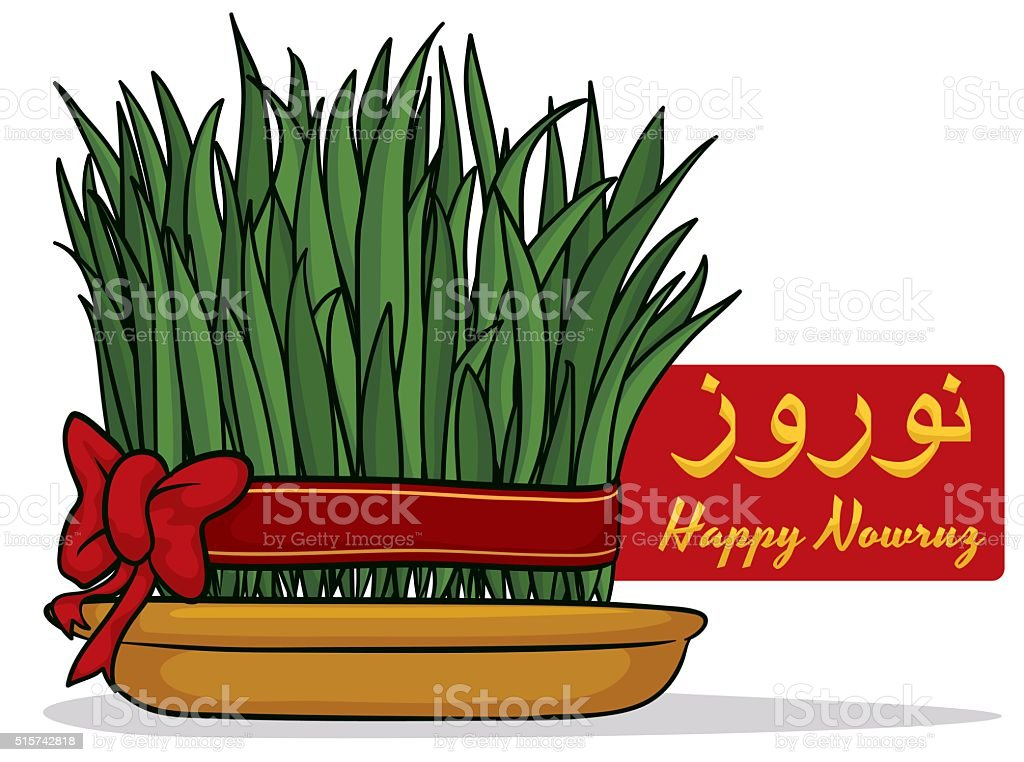Sabzeh with a Red Ribbon and Bow vector art illustration