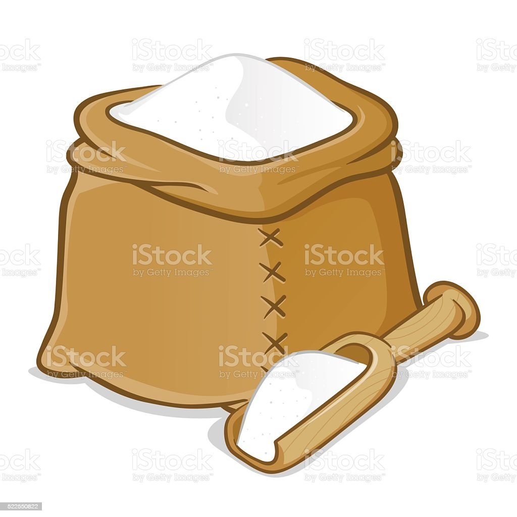 Sack Full of Flour With Wooden Scoop vector art illustration