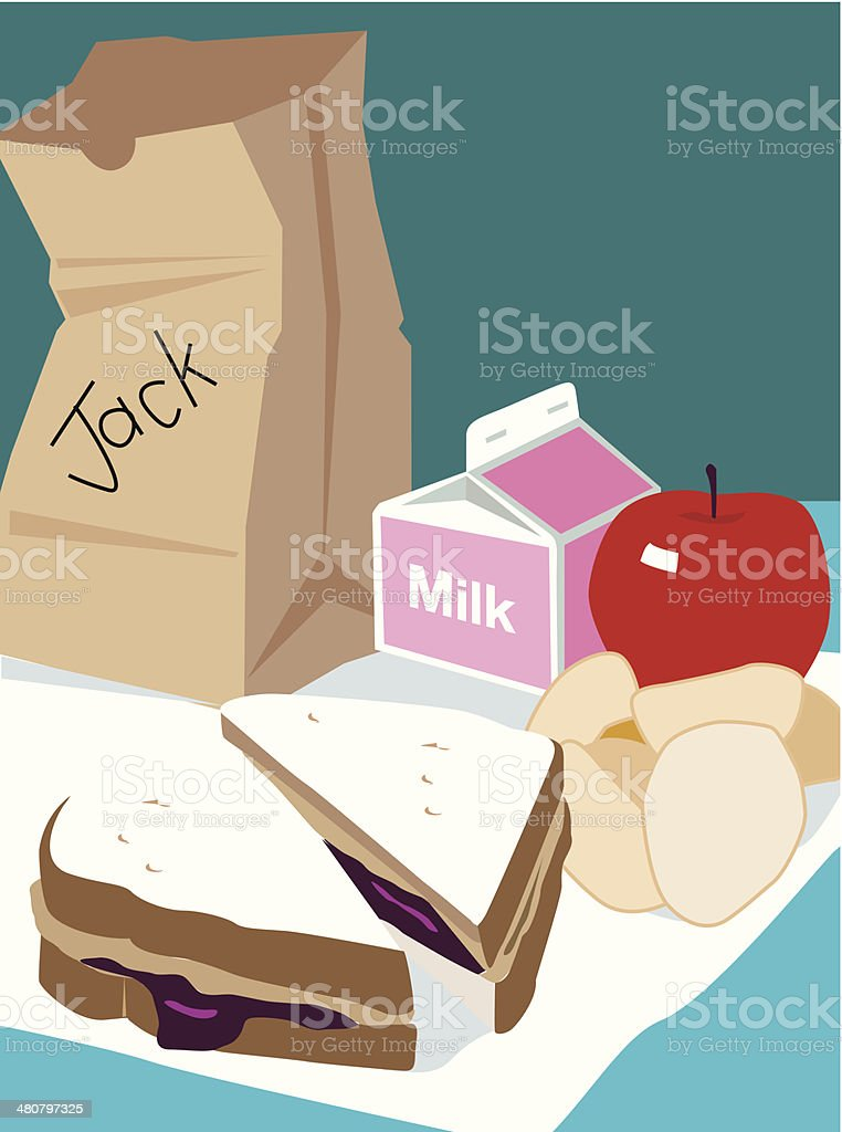 Sack Lunch C vector art illustration