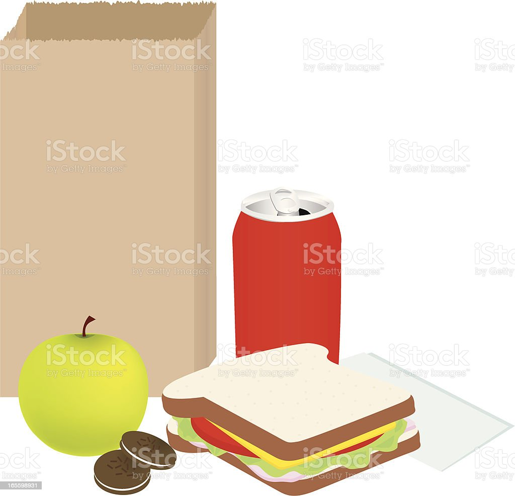 Sack Lunch vector art illustration