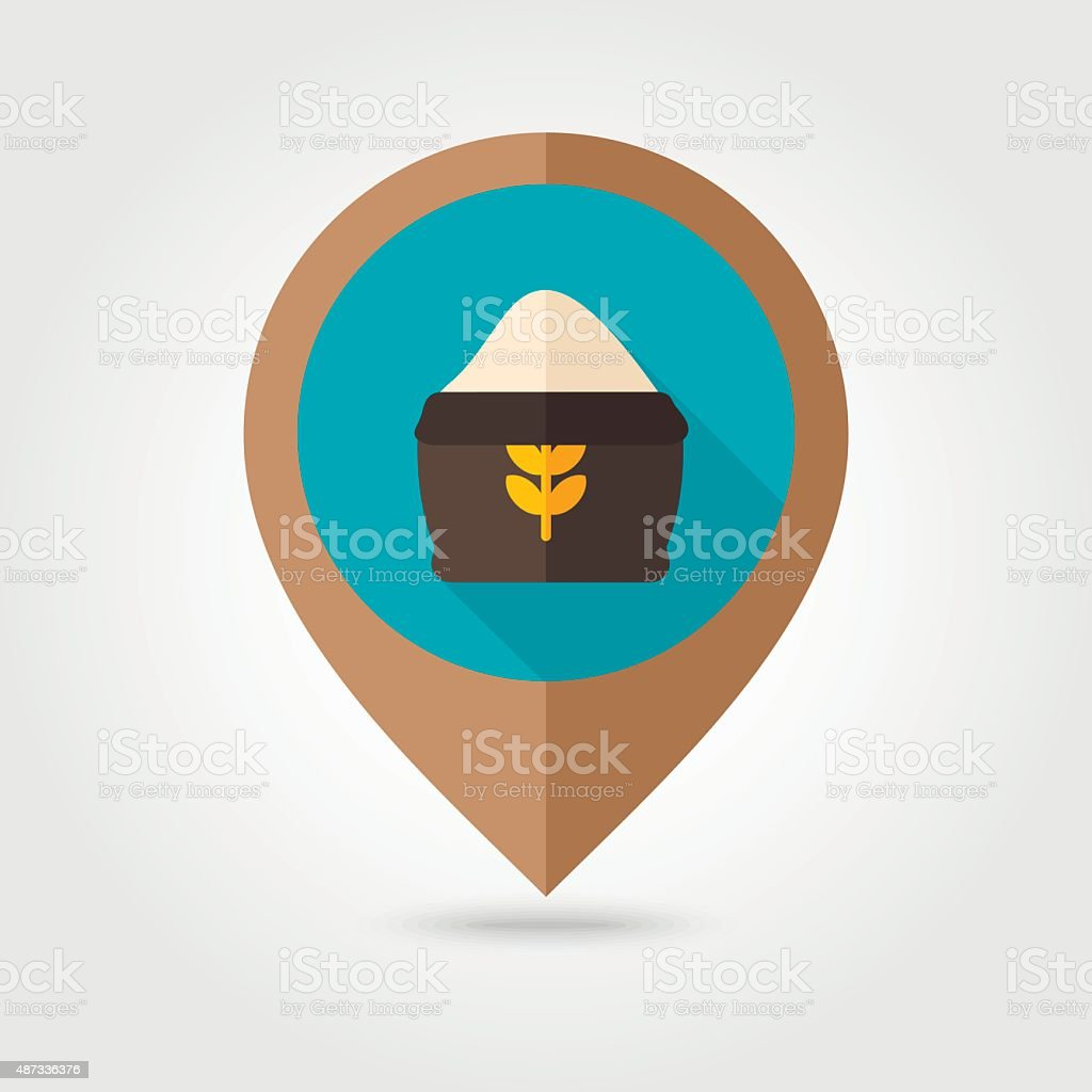Sack of flour flat mapping pin icon vector art illustration